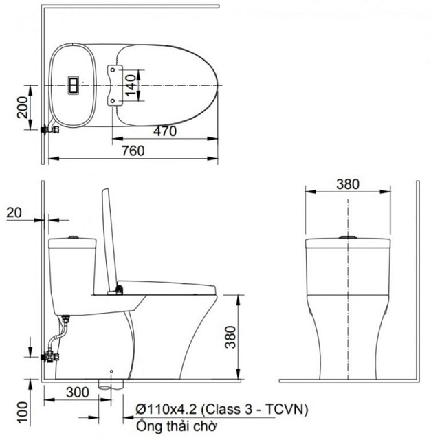 Kích thước bồn cầu 1 khối 778x400x655 mm