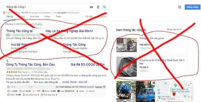 Chiêu trò lừa đảo thông cống nghẹt quảng cáo trên mạng